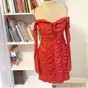 Ruched off shoulder red bodycon dress date night